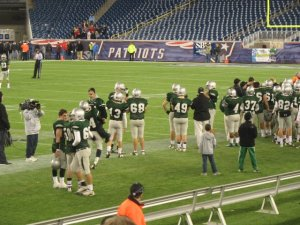 The Duxbury Football team at during the Super Bowl at Gilette Stadium in 2011.