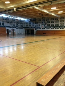 The Duxbury High School gym where the homecoming pep rally took place.