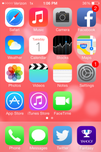 Screenshot of an iPhone home screen with iOS 7 software.