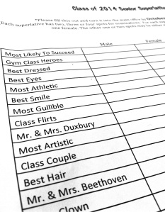 Each senior receives a paper with different superlatives listed and will pick both a girl and a boy who best fits this superlative.