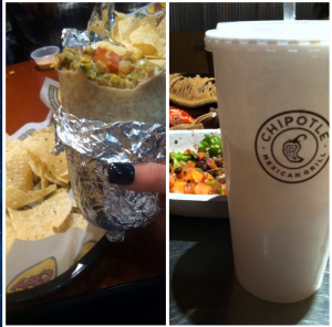 A picture of a Moe's burrito and a Chipotle drink