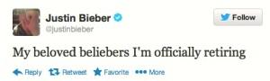 Justin Bieber's tweet of retirement on Twitter.com