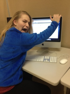 DHS junior Michelle M. demonstrates her anger toward the closed portal.
