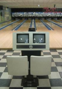 The bowling lanes at Alley Cat Lane, ready to be used