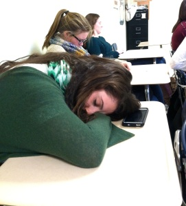 DHS student sleeping in class.