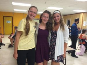 DHS Junior Claire H. and Senior Brooke M. pose with French student Jeanne.