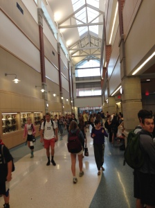 DHS students walking in the hallways.