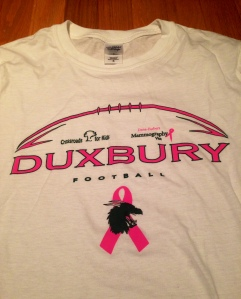 Duxbury Football shirt to promote breast cancer awareness.