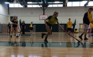 Field hockey player Nicole Quinlan shows her skills on the gym court.