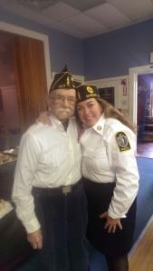 World War II veteran Lenny DiMuzio and his Daughter, Therese DiMuzio at the Veterans Day Ceremony