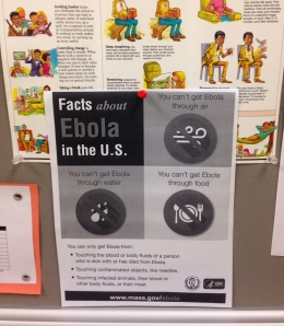 Ebola facts displayed for students in the nurse's office