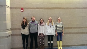 (From left to right): DHS Seniors Meredith W., Kaylee R., Marie S., Riley C., and Kay M. abide by the school dress code.