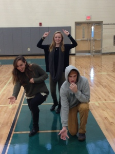 Seniors Nicole Gavin, MK Ward, and Will Kalous act out their bowling skills.