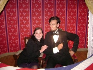 Mrs. Doherty poses with a wax Abraham Lincoln in Washington D.C.