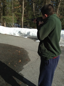 Junior Jared D. practices for the plover shootdown